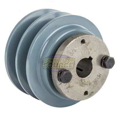 Cast Iron 3.35 2 Groove Dual Belt B Section 5l Pulley With 34 Sheave Bushing