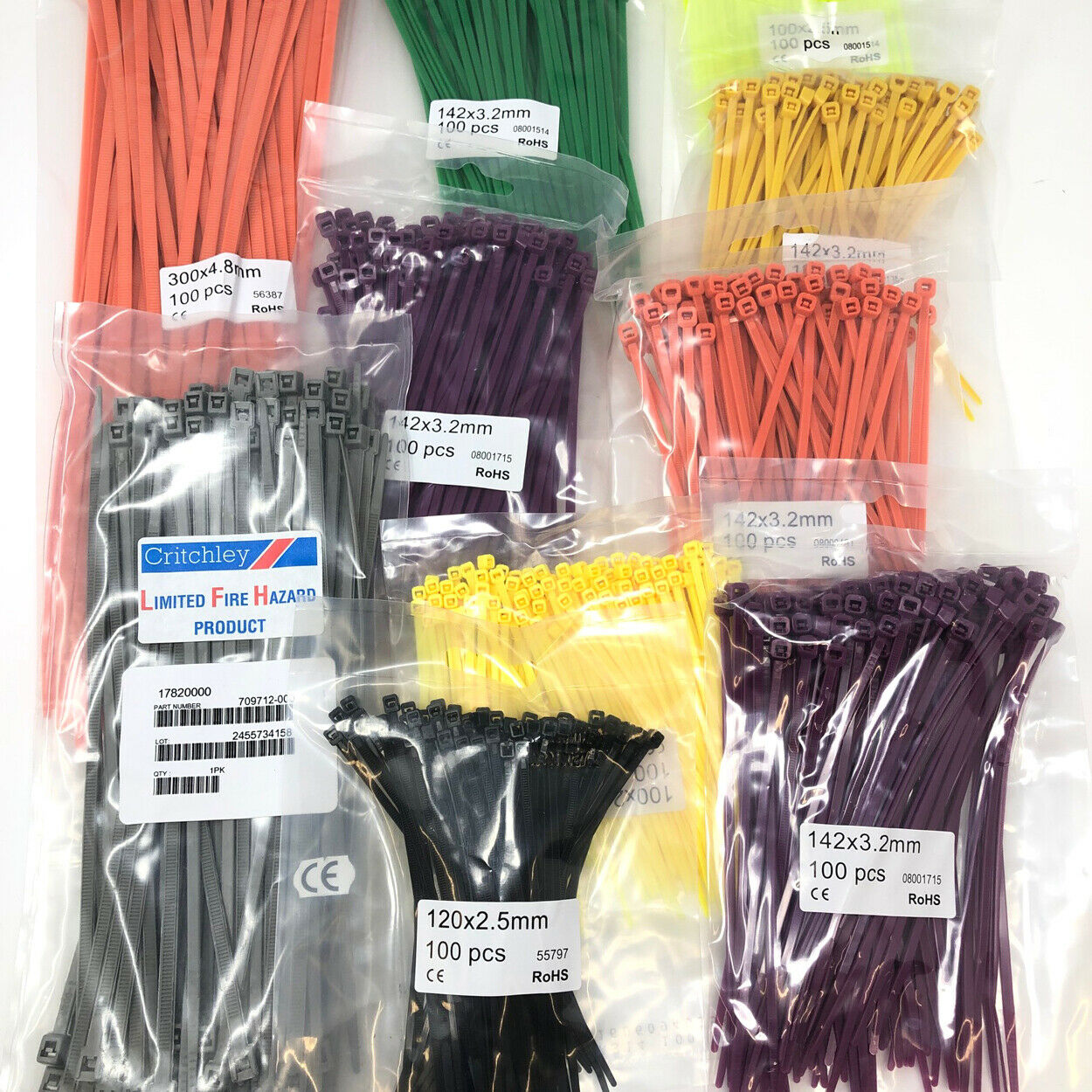 Various Sizes Nylon Cable Zip Ties - 100mm bag of 100