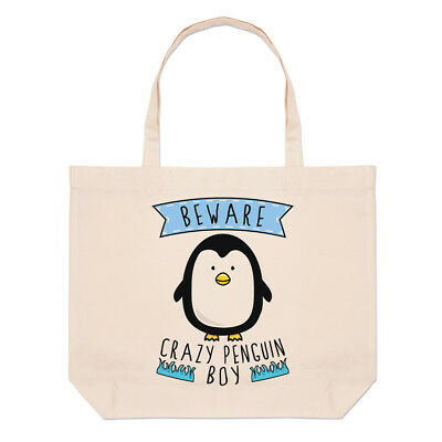 Hüten Sie Sich Vor Verrückt Pinguin Junge Groß Strand Tragetasche - Lustig Tier