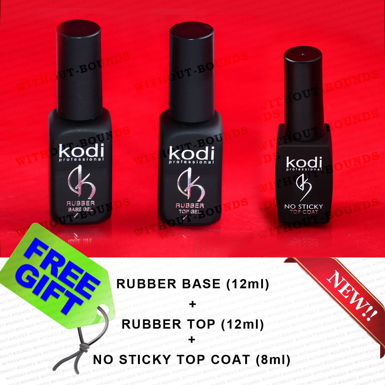Kodi PROFESSIONAL Rubber Base + NO STICKY TOP COAT Nail Gel Polish ...
