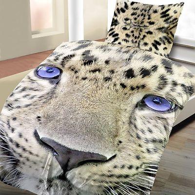 4 tlg Bettwäsche Leopard 135 x 200 cm beige Microfaser 2 Garnituren Fotodruck - Leopard 4