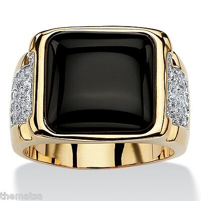 MENS 14K YELLOW GOLD BLACK ONYX CZ GP CABOCHON RING SIZE 8,9,10,11,12,13,