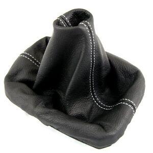 Seat ibiza mk3 02 08 couture blanche cuir noir housse de for Housse levier de vitesse