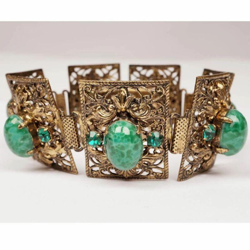 Vintage 1930s Czech Filigree Brass and Green Glass Bracelet Gablonz