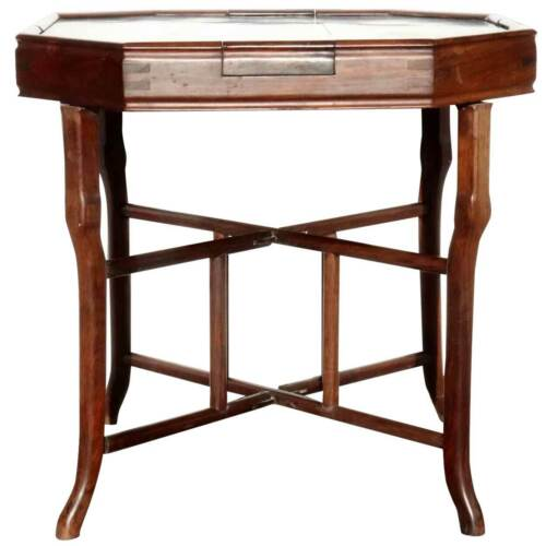 Antique Chinese Qing Rosewood Octagonal Mahjong Games Table c. 1900