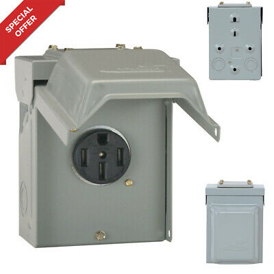 50 Amp Temporary Rv Power Outlet Electric Outdoor Receptacle Plug Housing Box