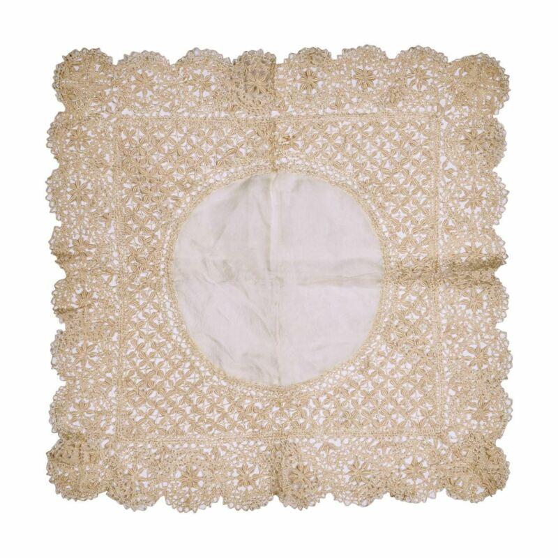 Antique Maltese Silk Lace Wedding Handkerchief Fine & Gorgeous Hankie