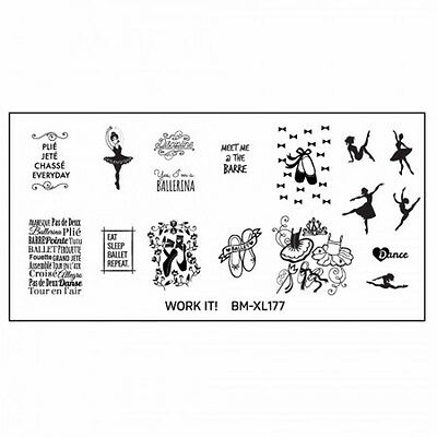 Bundle Monster XL Stamping Schablone Plate BM-XL-177 Nailart Dancer Letter