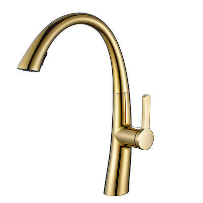 FLG Kitchen Sink Pull Out Faucet Gold Painting Brass Deck Mounted Single Handle