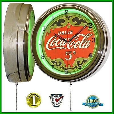 Drink Coca Cola * 5 Cents Sign Green Neon Advertising Clock Home Decor