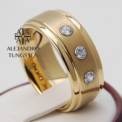 Tungsten Ring Wedding Band Comfort Fit 8MM Men's Luxury Gold Design Size 6 to 14 (Comfort Fit Designers Wedding Band)