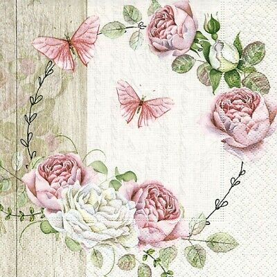 4 Lunch Paper Napkins for Decoupage Party Table Craft Vintage Roundel of Roses