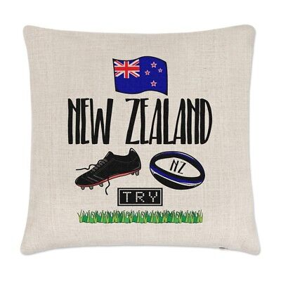 Rugby Zelanda Lino Copricuscino Cuscino - Divertente Lega Bandiera Inglese Sport