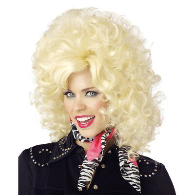 Country Western Diva Wig Dolly Parton Singer Pardon Blonde Curly Big Costume - Country Western Costumes