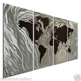 Metal Wall Sculpture Art by Ash Carl Modern Decor World Map