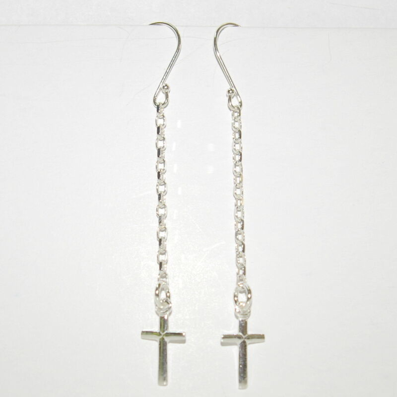 6 Sterling Silver Dangle EARRINGS with CROSS Charms Lot