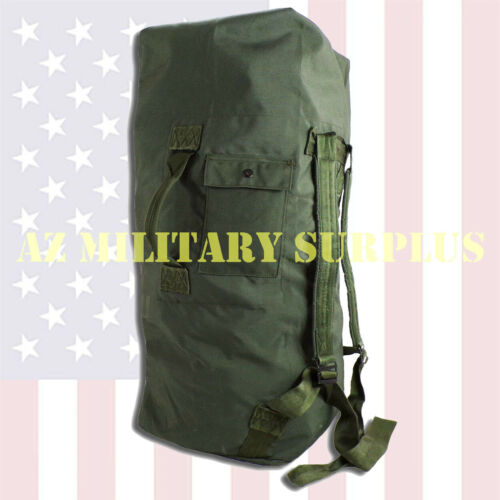 US MILITARY DUFFEL BAG / SEA BAG, HEAVY DUTY DUCK CANVAS w/STRAPS AAA-VERY GOOD!