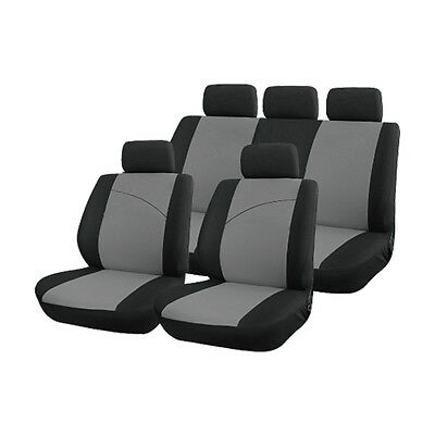 Grey and Black, Front & Rear Car Seat Covers: Soft Plush Velour STYLING CONTRAST
