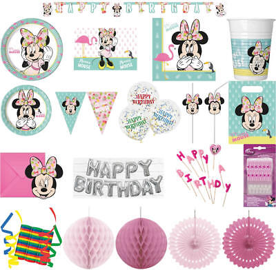 Kinder-Geburtstag Party Deko Feier Fete Motto tropische Minnie Mouse