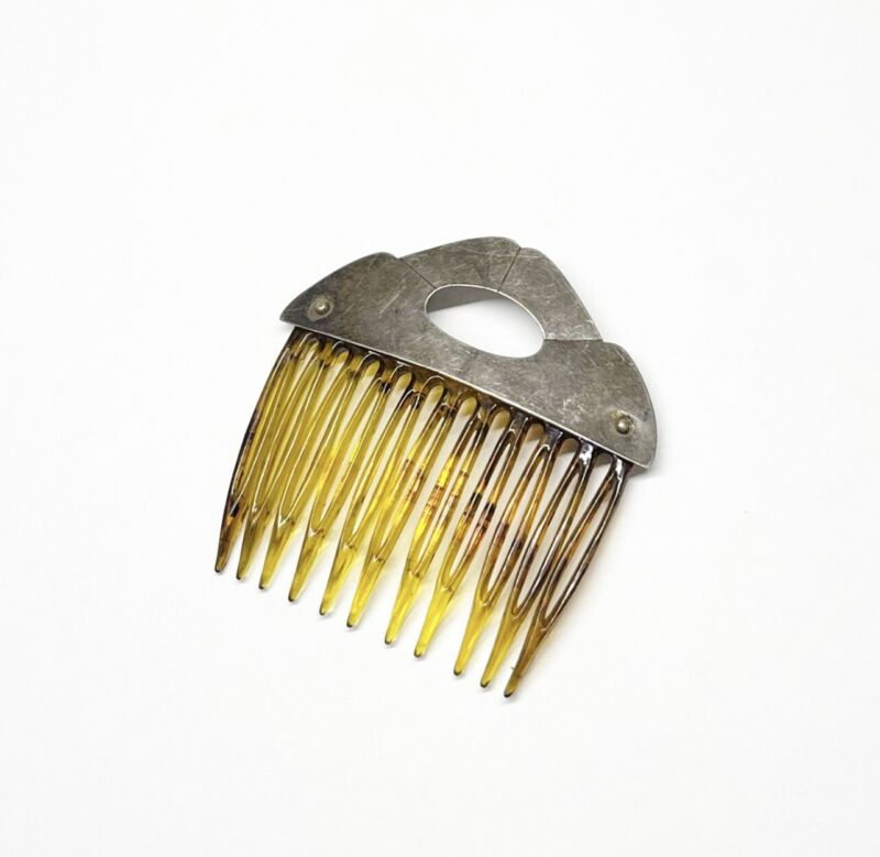 Estate Vintage STERLING SILVER HAIR COMB Antique Hair Accessories 6.39g