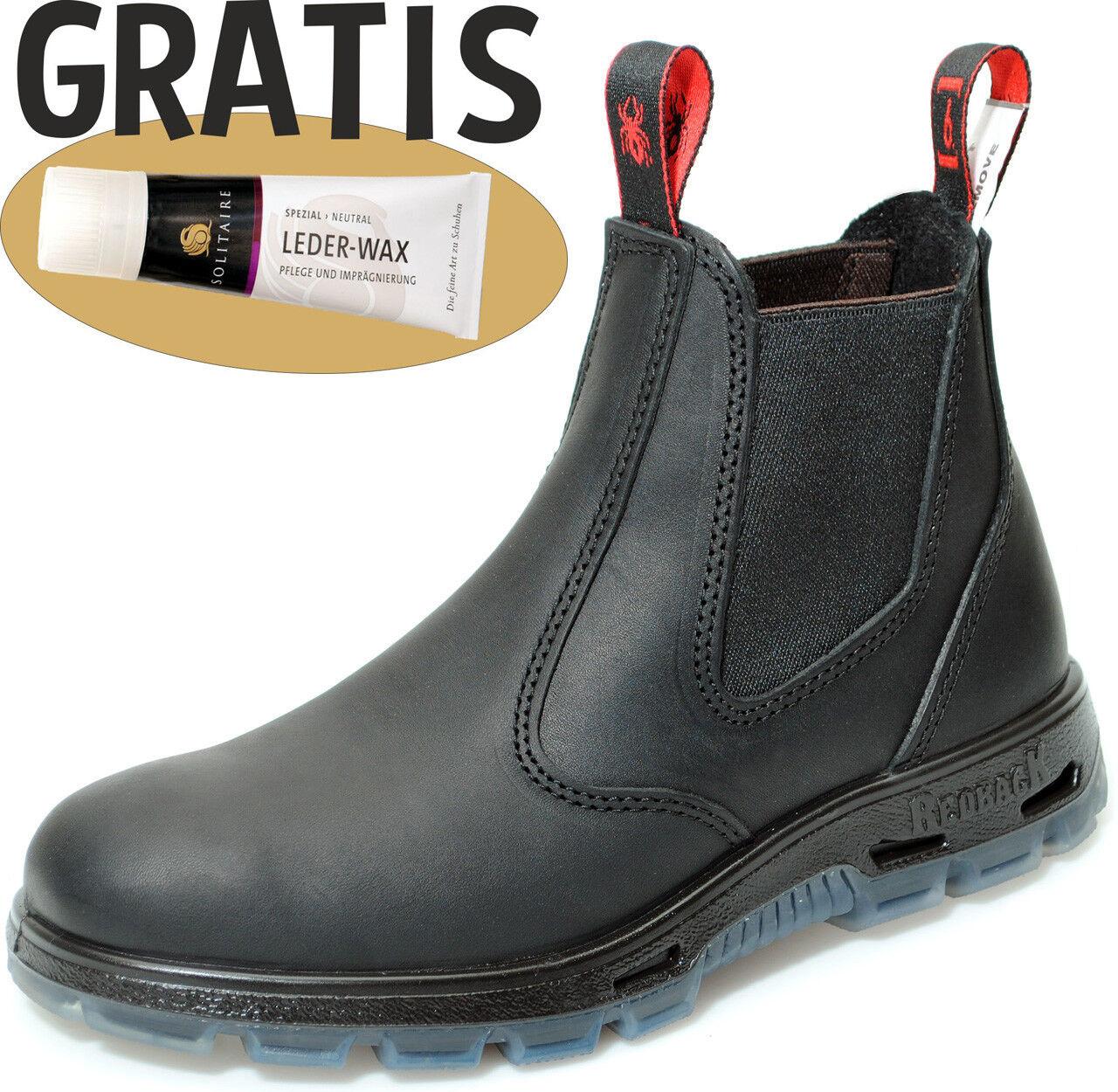 Redback Work Boots Arbeitsschuhe Reiten Leder Stiefelette UBBK schwarz + Zugabe