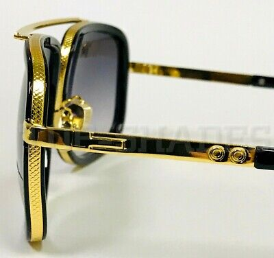 Oversized Square Aviator Gold Metal and Bar w/Black Frame Men Fashion (Black Sunglasses Gold Frame)