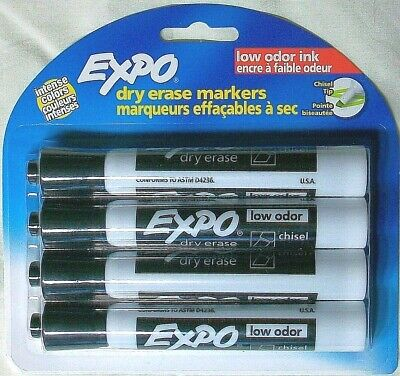 8 Lot Pack Expo Low-odor Dry Erase Markers Chisel 3-way Tip Intense Color Black