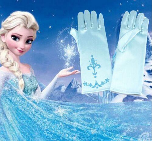 Princess Frozen Blue Gloves Gift Elsa Dressing up girls age 2-7