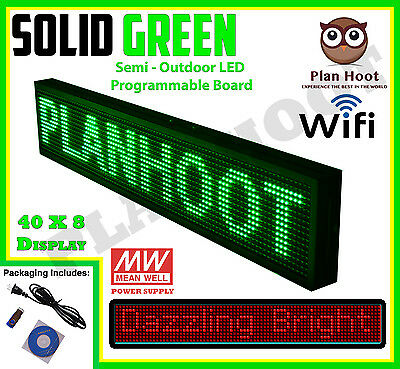 Green 40x8 Inches Wifi App Led Scrolling Sign For Semi Outdoor And Indoor Use
