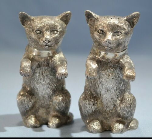 Pair of Modern English Sterling Silver Kittens Figures Spice Condiments by BHS