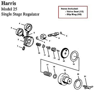 Harris Model 25 29 Regulator Rebuildrepair Parts Kit