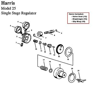 Harris Model 25 29 Regulator Rebuildrepair Parts Kit W Diaphragm