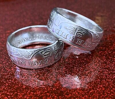British Coin Ring crafted from a Silver Half Crown