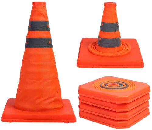 Sunnyglade 4 Pack 15.5 inch Collapsible Traffic Cones Multi Purpose Pop up Refle