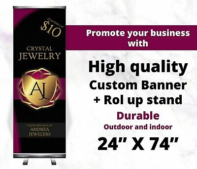 24x74 Roll Up Retractable Banner Stand Free Printing Trade Show Pull Up