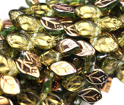 25 Peridot Apollo Gold Small Czech Glass Leaf Beads Side Drilled 12Mm