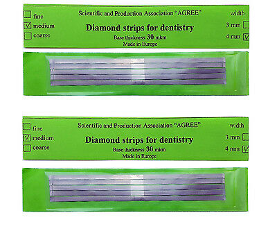 Lot X2 Dental Abrasive Diamond Stainless Steel Strips Finishing Polishing 4mm
