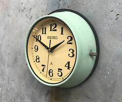 1970's Green Seiko Retro Vintage Industrial Antique Quartz Wall Clock