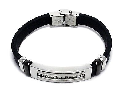 Mens Stainless Steel Black Rubber Band Bracelet CZ Cubic Zirconia Bangle Link