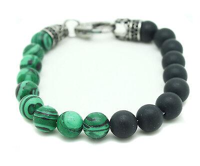 Blackjack Genuine Onyx Malachite Bracelet Stainless Steel Green Black Ball - Malachite Pearl Bracelet