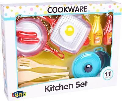 Luna Spielküchen Zubehör Set 11-tlg. Kinder Kochgeräte mit Topf Pfannen +3J