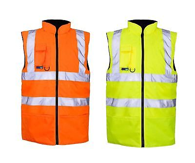 Men High Visibility Reversible Fleece Body Warmer Adult Sleeveless Safety Jacket