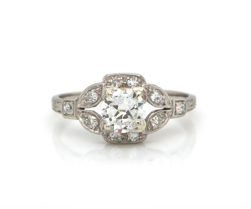 Vintage 0.60ct Transitional Cut Engagement Ring in Platinum