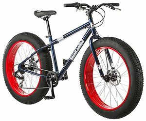 Mens-Bike-Mongoose-Dolomite-26-Inch-Fat-Tire-7-speed-All-Terrain-Navy-Blue