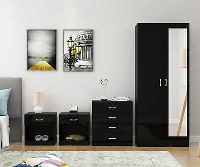 Mirrored Gloss Black 4 Piece Wardrobe Set Bedroom Furniture **Free Delivery UK**