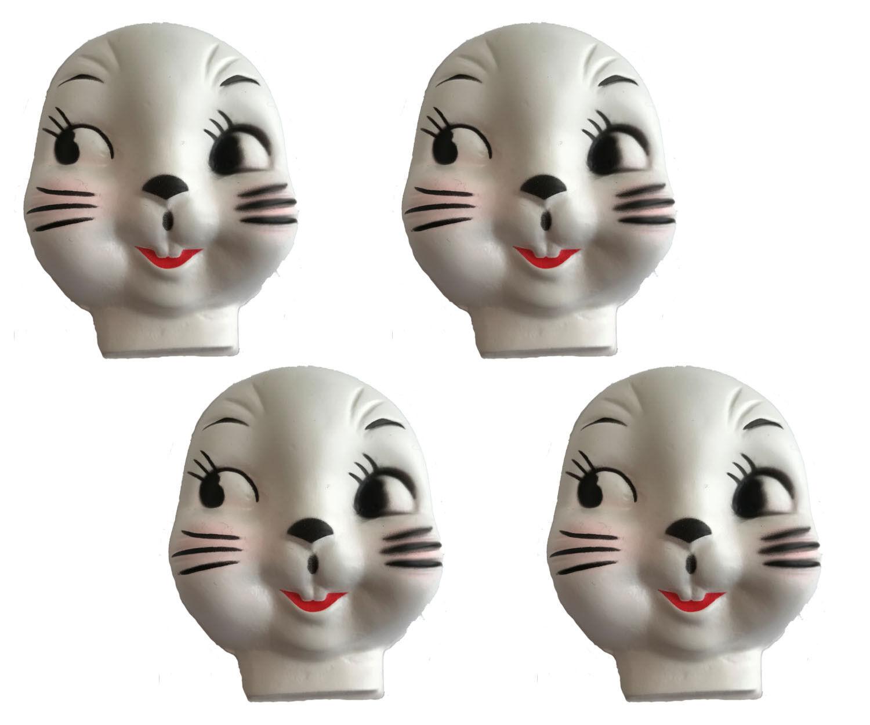 Menge 4 Groß Ostern Bunny Rabbit Zelluloid Puppe Masken Gesichter Craft Vtg