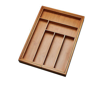 Kitchen Drawer Organizer Adjustable Divider Tray Storage Closet Bamboo Wood New