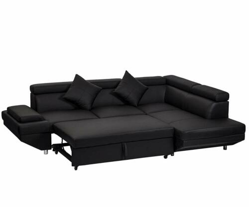 Contemporary Sectional Modern Sofa Bed - Black with Functional Armrest / Back R