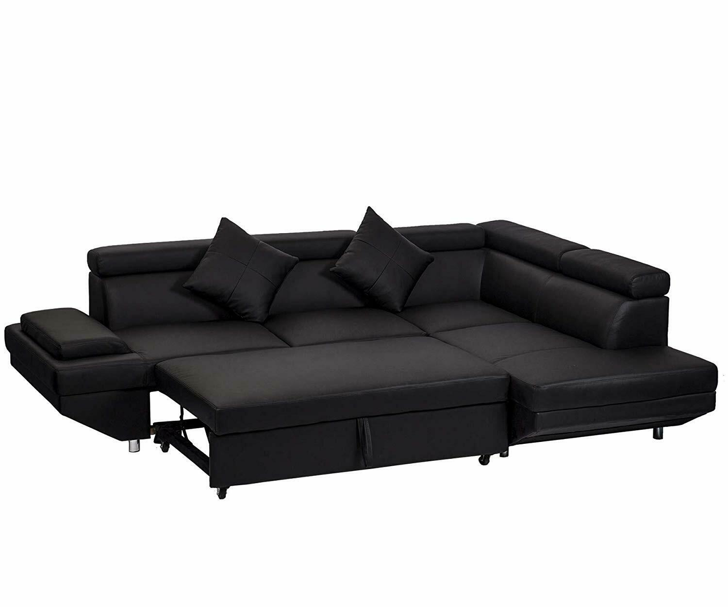 Details about Contemporary Sectional Modern Sofa Bed - Black with  Functional Armrest / Back R