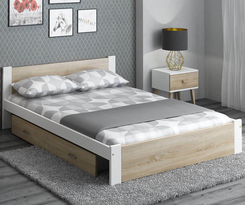 Bett Kiefernholz Lattenrost mit Schublade Bettkasten Holzbett Eiche Sonoma Weiß